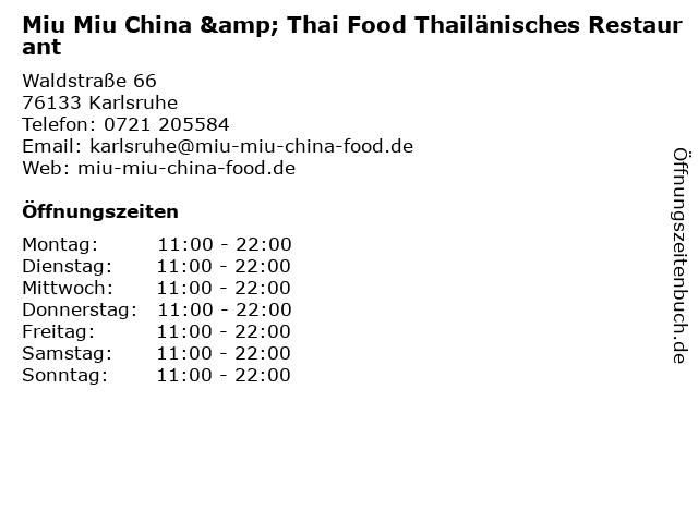 Miu Miu China & Thai Food Thailänisches Restaurant in Karlsruhe: Adresse und Öffnungszeiten
