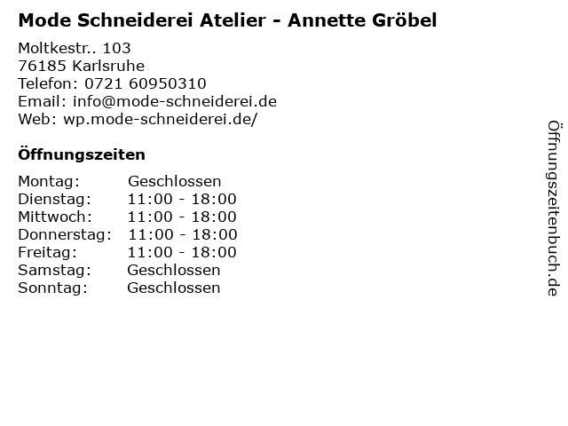 Mode Schneiderei Atelier - Annette Gröbel in Karlsruhe: Adresse und Öffnungszeiten
