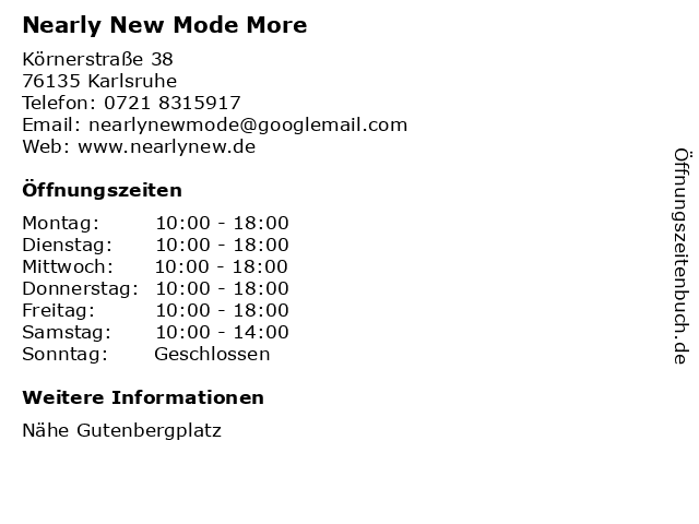 Nearly New Mode More in Karlsruhe: Adresse und Öffnungszeiten