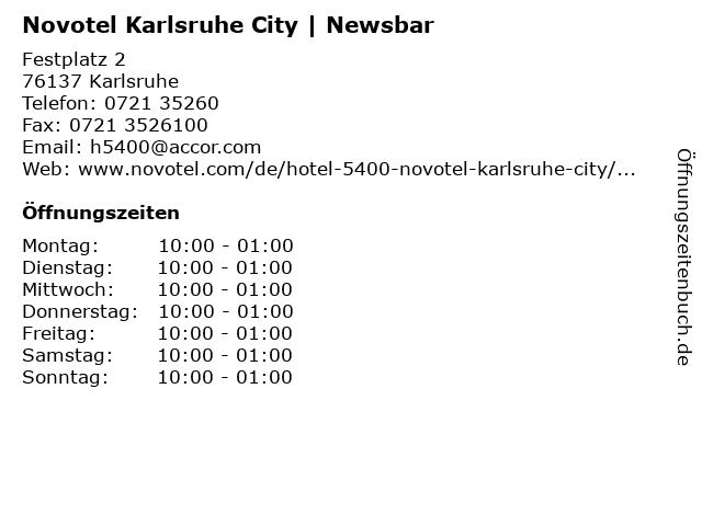 Novotel Karlsruhe City   Newsbar in Karlsruhe: Adresse und Öffnungszeiten