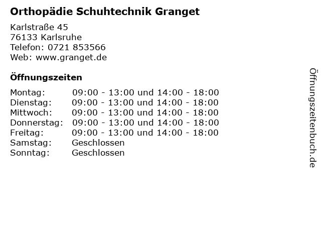 Orthopädie Schuhtechnik Granget in Karlsruhe: Adresse und Öffnungszeiten