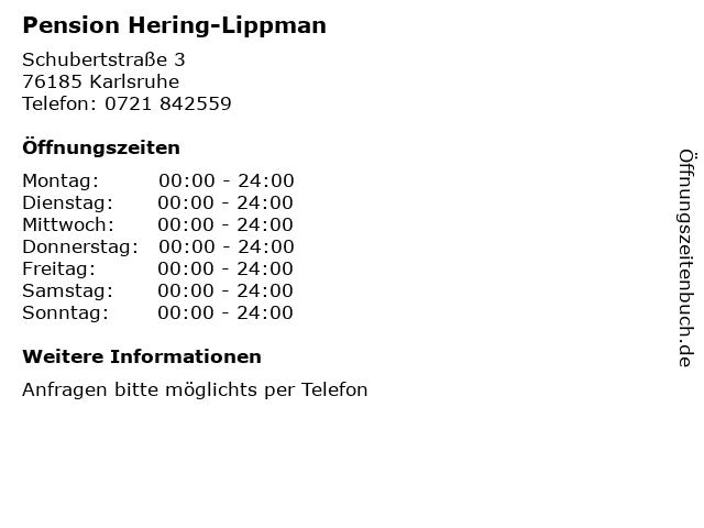 Pension Hering-Lippman in Karlsruhe: Adresse und Öffnungszeiten