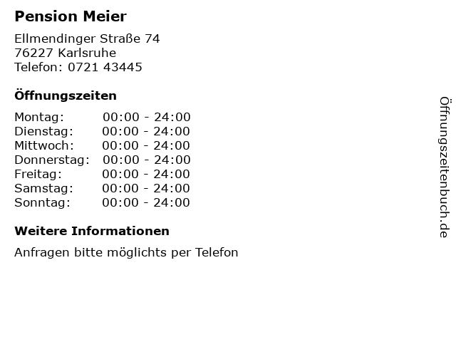 Pension Meier in Karlsruhe: Adresse und Öffnungszeiten