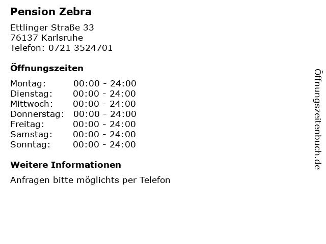 Pension Zebra in Karlsruhe: Adresse und Öffnungszeiten