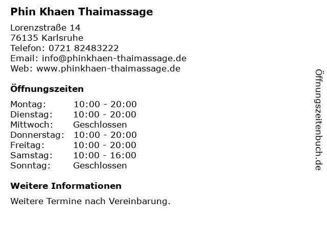 Phin Khaen Thaimassage in Karlsruhe: Adresse und Öffnungszeiten