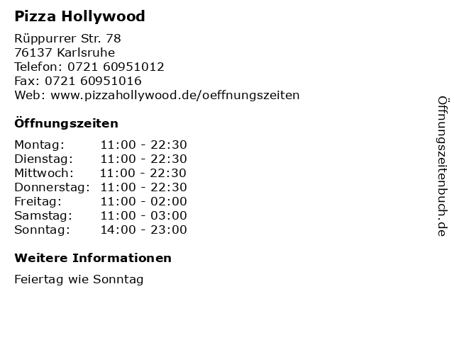 Pizza Hollywood in Karlsruhe: Adresse und Öffnungszeiten
