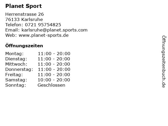 Planet Sport in Karlsruhe: Adresse und Öffnungszeiten