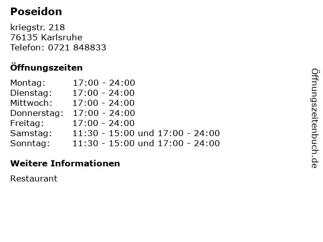 Poseidon in Karlsruhe: Adresse und Öffnungszeiten