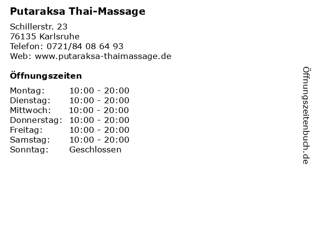 Putaraksa Thai-Massage in Karlsruhe: Adresse und Öffnungszeiten