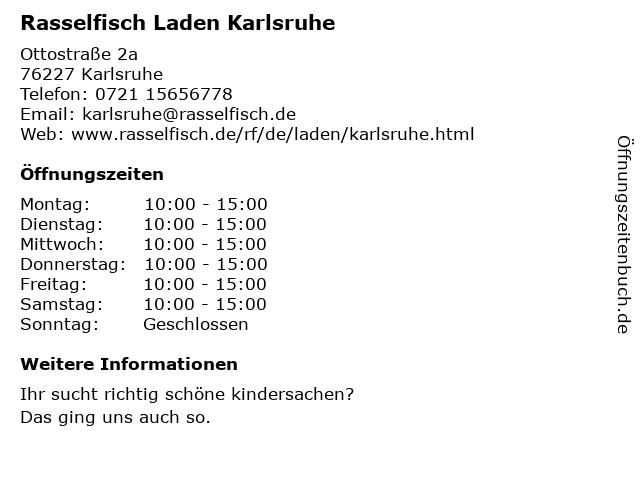 Rasselfisch Laden Karlsruhe in Karlsruhe: Adresse und Öffnungszeiten