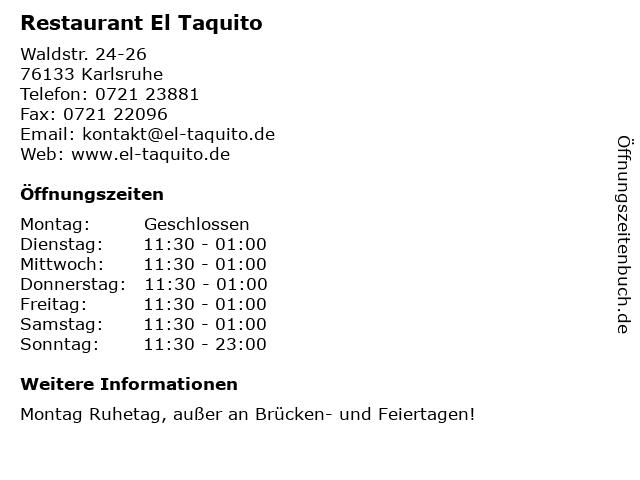 Restaurant El Taquito in Karlsruhe: Adresse und Öffnungszeiten