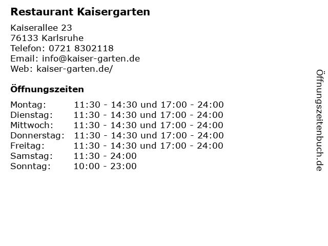 Restaurant Kaisergarten in Karlsruhe: Adresse und Öffnungszeiten