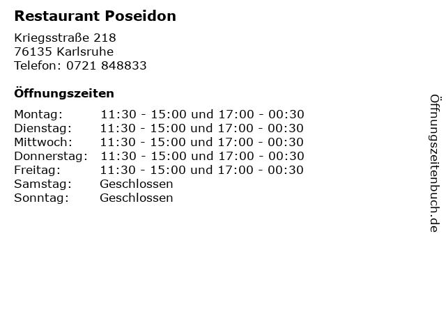 Restaurant Poseidon in Karlsruhe: Adresse und Öffnungszeiten
