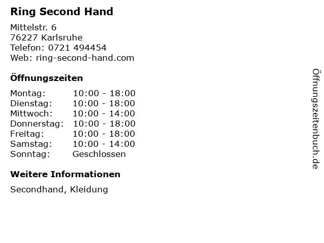 Ring Second Hand in Karlsruhe: Adresse und Öffnungszeiten