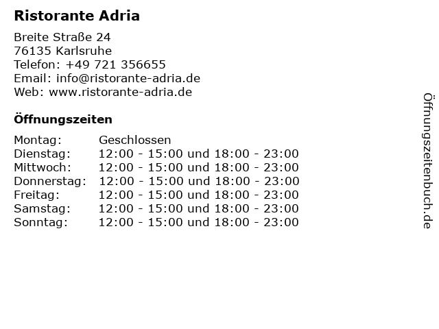 Ristorante ADRIA in Karlsruhe: Adresse und Öffnungszeiten
