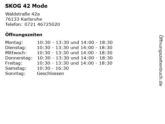 SKOG 42 Mode in Karlsruhe: Adresse und Öffnungszeiten