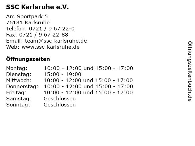 SSC Karlsruhe e.V. in Karlsruhe: Adresse und Öffnungszeiten