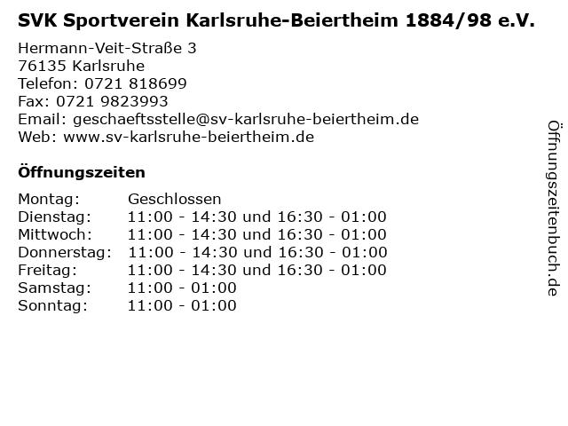 SVK Sportverein Karlsruhe-Beiertheim 1884/98 e.V. in Karlsruhe: Adresse und Öffnungszeiten