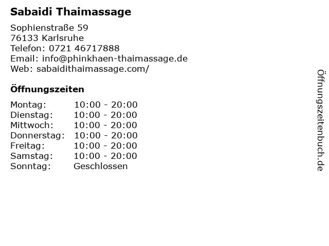 Sabaidi Thaimassage in Karlsruhe: Adresse und Öffnungszeiten