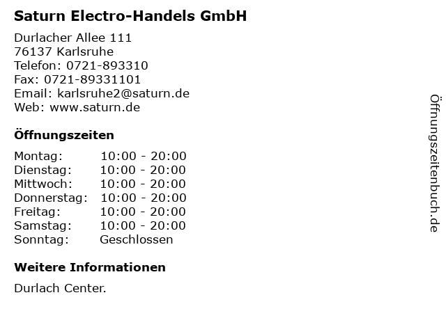Saturn Electro-Handels GmbH in Karlsruhe: Adresse und Öffnungszeiten