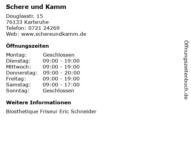 Schere und Kamm in Karlsruhe: Adresse und Öffnungszeiten