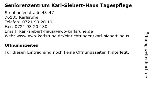 Seniorenzentrum Karl-Siebert-Haus Tagespflege in Karlsruhe: Adresse und Öffnungszeiten