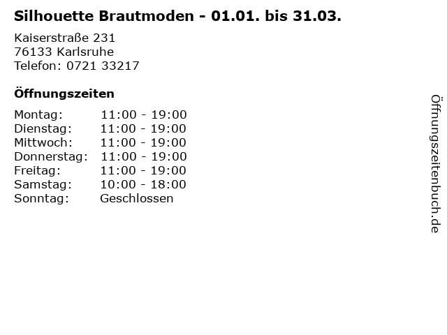 Silhouette Brautmoden - 01.01. bis 31.03. in Karlsruhe: Adresse und Öffnungszeiten