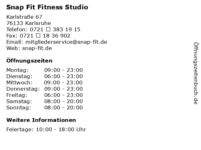 Snap Fit Fitness Studio in Karlsruhe: Adresse und Öffnungszeiten