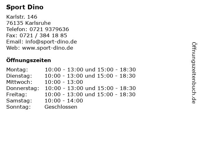 Sport Dino in Karlsruhe: Adresse und Öffnungszeiten