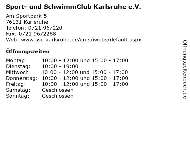 Sport- und SchwimmClub Karlsruhe e.V. in Karlsruhe: Adresse und Öffnungszeiten