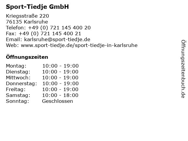 Sport-Tiedje GmbH in Karlsruhe: Adresse und Öffnungszeiten