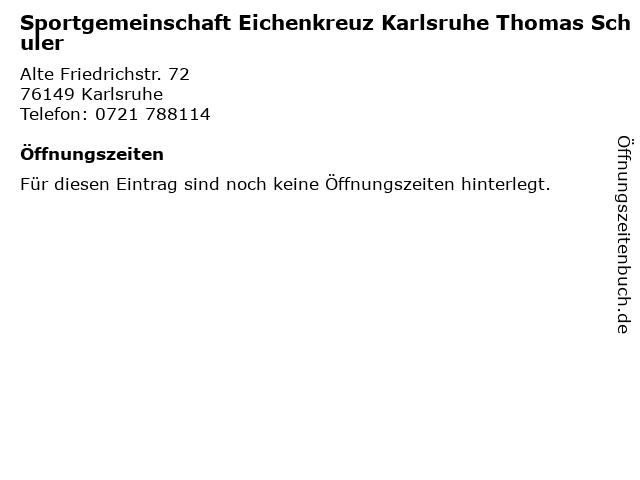 Sportgemeinschaft Eichenkreuz Karlsruhe Thomas Schuler in Karlsruhe: Adresse und Öffnungszeiten