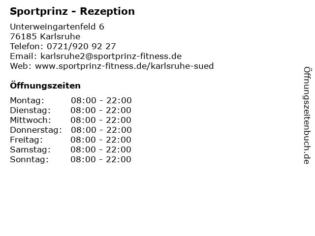 Sportprinz - Rezeption in Karlsruhe: Adresse und Öffnungszeiten