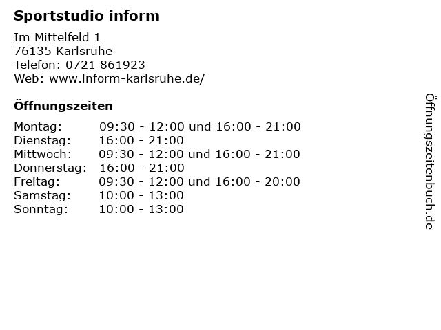 Sportstudio inform in Karlsruhe: Adresse und Öffnungszeiten