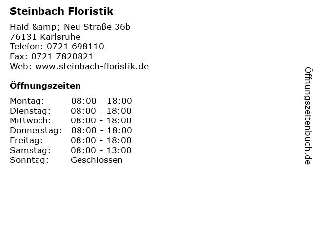 Steinbach Floristik in Karlsruhe: Adresse und Öffnungszeiten
