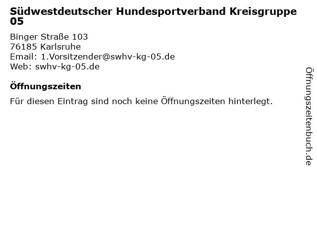 Südwestdeutscher Hundesportverband Kreisgruppe 05 in Karlsruhe: Adresse und Öffnungszeiten