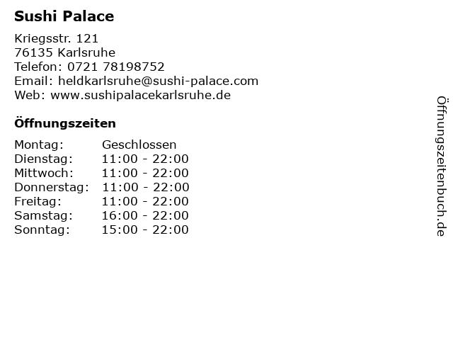 Sushi Palace in Karlsruhe: Adresse und Öffnungszeiten