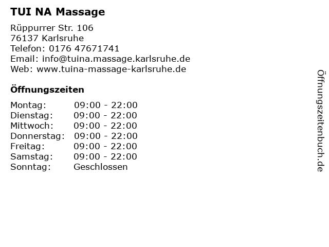 TUI NA Massage in Karlsruhe: Adresse und Öffnungszeiten