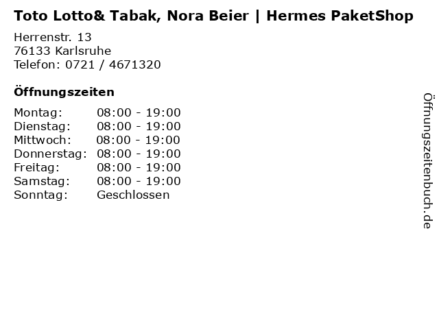 Toto Lotto& Tabak, Nora Beier   Hermes PaketShop in Karlsruhe: Adresse und Öffnungszeiten