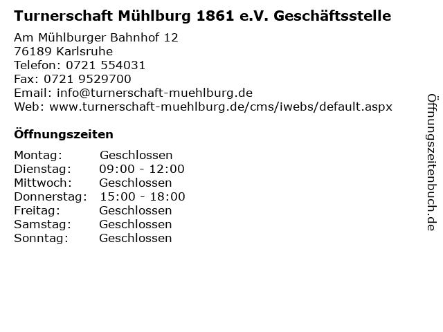 Turnerschaft Mühlburg 1861 e.V. Geschäftsstelle in Karlsruhe: Adresse und Öffnungszeiten