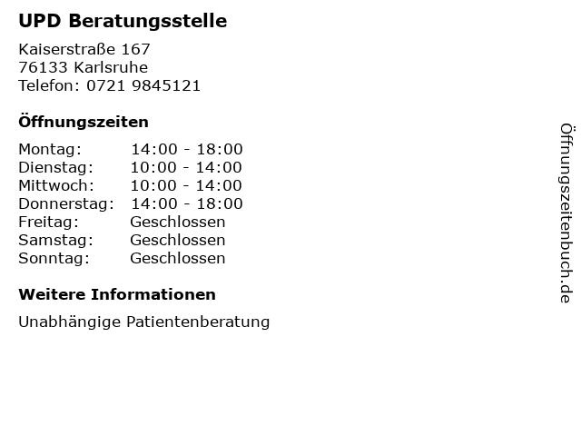 UPD Beratungsstelle in Karlsruhe: Adresse und Öffnungszeiten