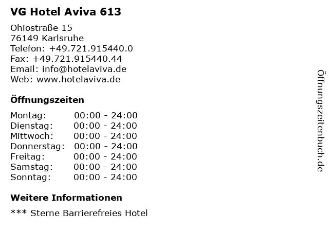 VG Hotel Aviva 613 in Karlsruhe: Adresse und Öffnungszeiten