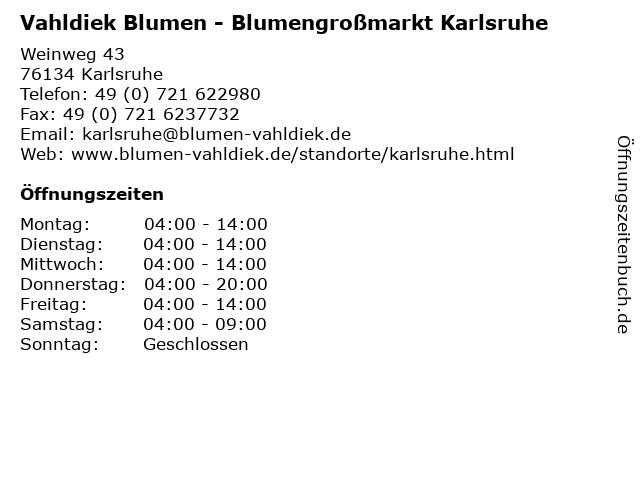 Vahldiek Blumen - Blumengroßmarkt Karlsruhe in Karlsruhe: Adresse und Öffnungszeiten