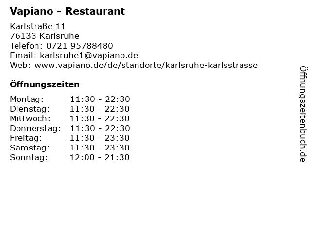 Vapiano in Karlsruhe: Adresse und Öffnungszeiten