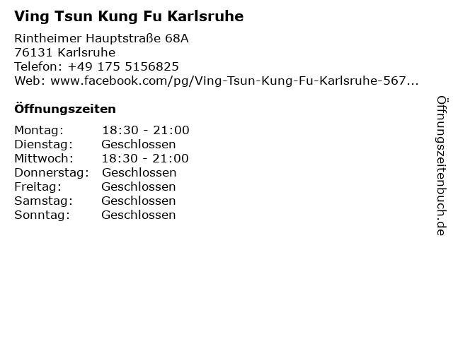 Ving Tsun Kung Fu Karlsruhe in Karlsruhe: Adresse und Öffnungszeiten
