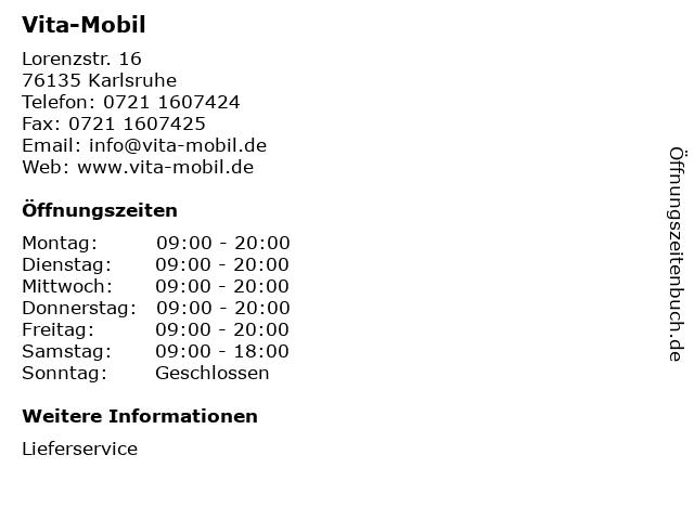 Vita-Mobil in Karlsruhe: Adresse und Öffnungszeiten