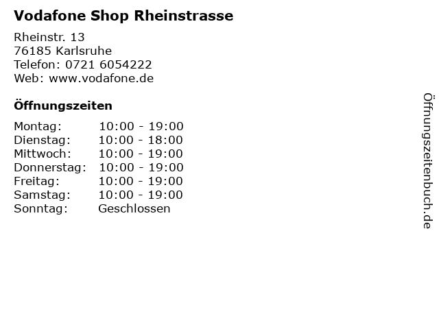 Vodafone Shop Rheinstrasse in Karlsruhe: Adresse und Öffnungszeiten