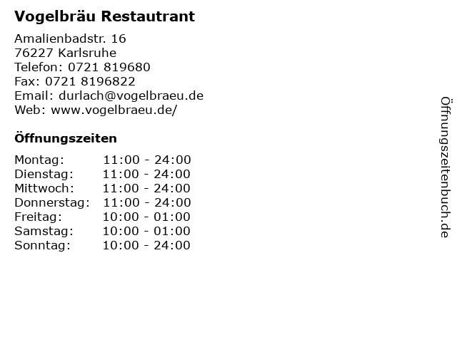 Vogelbräu Durlach in Karlsruhe: Adresse und Öffnungszeiten