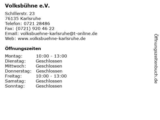 Volksbühne e.V. in Karlsruhe: Adresse und Öffnungszeiten