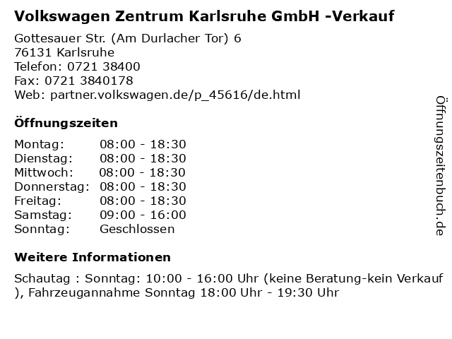 Volkswagen Zentrum Karlsruhe GmbH -Verkauf in Karlsruhe: Adresse und Öffnungszeiten